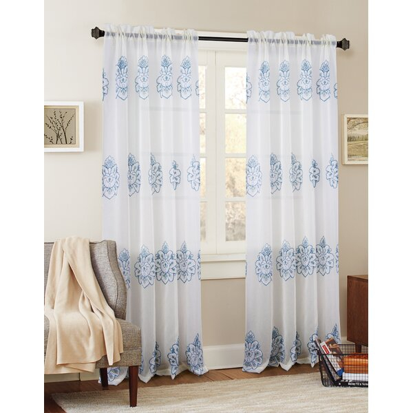Floral Embroidered Curtains | Wayfair Within Embroidered 'coffee Cup' 5 Piece Kitchen Curtain Sets (View 19 of 30)