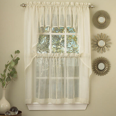 Floral Embroidered Semi Sheer Linen Kitchen Curtain Choice Throughout Floral Embroidered Sheer Kitchen Curtain Tiers, Swags And Valances (View 21 of 50)