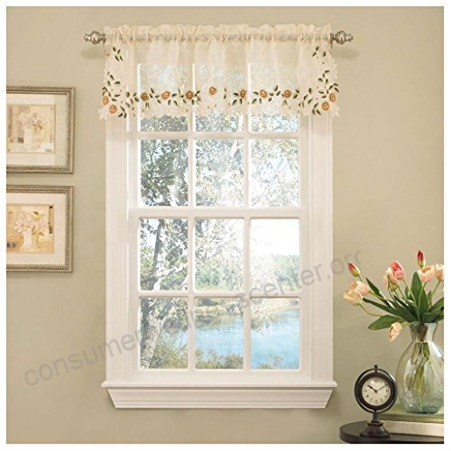 Floral Embroidered Semi Sheer Linen Kitchen Curtain Choice With Regard To Floral Embroidered Sheer Kitchen Curtain Tiers, Swags And Valances (View 22 of 50)