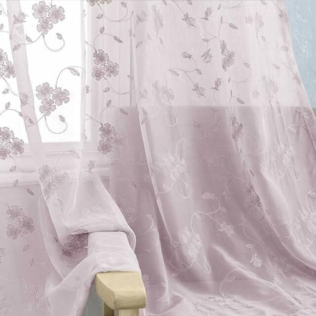 Floral Embroidered Sheer Curtains Rod Pocket Voile Drapes For Bedroom, 2  Panels With Regard To Embroidered Rod Pocket Kitchen Tiers (View 20 of 49)