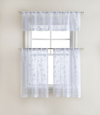 Floral Embroidered Sheer Kitchen Curtain Tier & Valance Set In Floral Embroidered Sheer Kitchen Curtain Tiers, Swags And Valances (View 23 of 50)