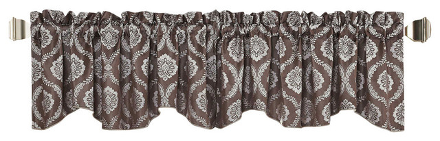 "Floral Jacquard Window Curtain Valance, Brown, 58"" X 19"" Regarding Imperial Flower Jacquard Tier And Valance Kitchen Curtain Sets (#26 of 46)"