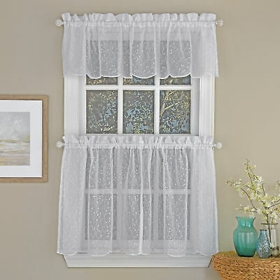 Floral Spray Semi Sheer Kitchen Window Curtain Tier Pair Or Valance White |  Ebay For Tailored Valance And Tier Curtains (#15 of 50)