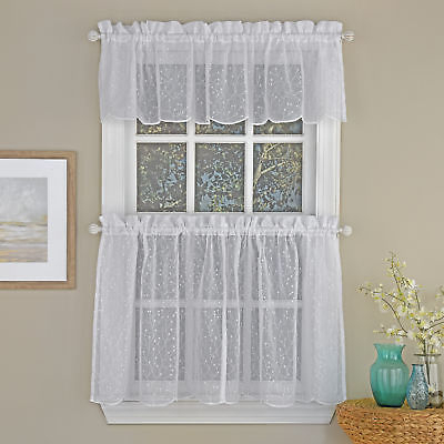 Floral Spray Semi Sheer Kitchen Window Curtain Tier Pair Or Valance White | Ebay With Semi Sheer Rod Pocket Kitchen Curtain Valance And Tiers Sets (View 9 of 50)