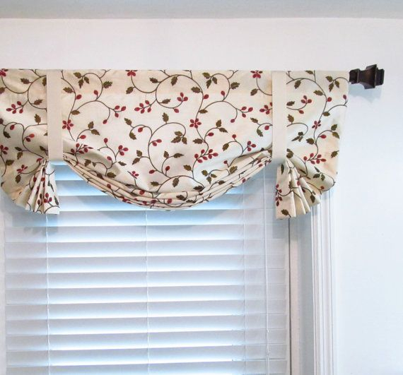 Floral Tie Up Valance Lined Curtain Embroidered Faux Silk Within Floral Embroidered Faux Silk Kitchen Tiers (View 30 of 50)