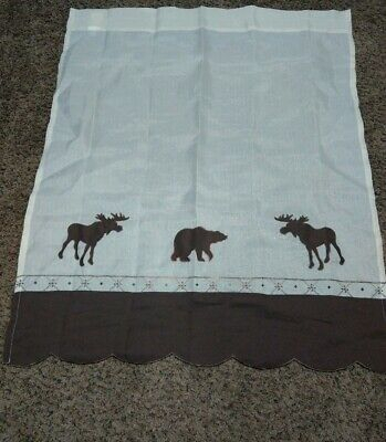 """Forest Tier Pair Curtains, Ivory And Brown. Measures 35""""x29"""" Each Panel (View 11 of 30)"""