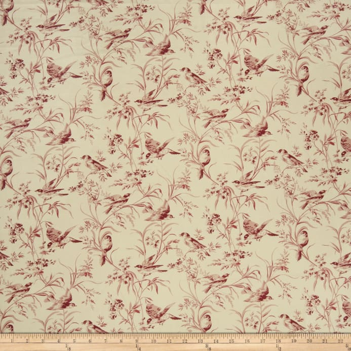 French General Aviary Toile Linen Rouge Fabric Throughout Aviary Window Curtains (View 17 of 30)