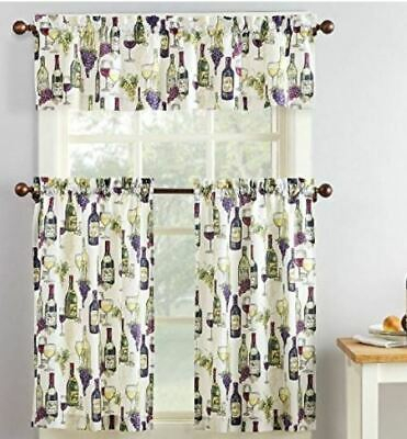 French Wine Bottle Chateau Grapes Kitchen Window Valance Throughout Chateau Wines Cottage Kitchen Curtain Tier And Valance Sets (View 18 of 30)
