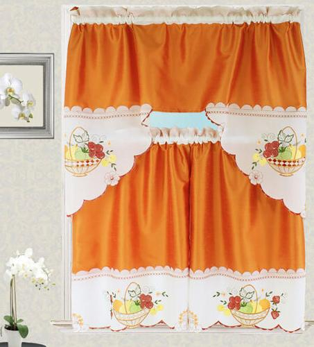 Fruit Basket Kitchen Curtain With Swag A Regarding Chardonnay Tier And Swag Kitchen Curtain Sets (View 23 of 50)