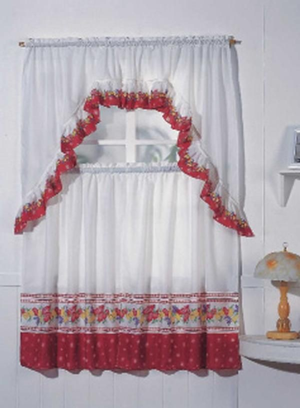 Fruit, Complete Tier & Swag Set, Kitchen Curtain Set Within Chardonnay Tier And Swag Kitchen Curtain Sets (View 25 of 50)