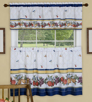 "Fruity Fliesen, 58""w X 13""l Querbehang & 58""w X 24""l Tier Pair | Ebay Pertaining To Dakota Window Curtain Tier Pair And Valance Sets (#20 of 30)"