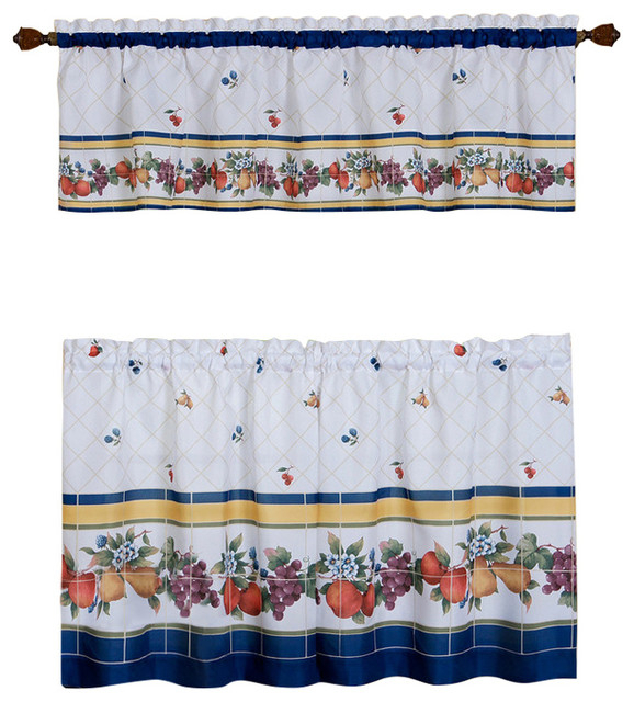 "Fruity Tiles Tier And Valance Window Curtain Set, 58""x36"", Multi Throughout Barnyard Window Curtain Tier Pair And Valance Sets (View 33 of 50)"
