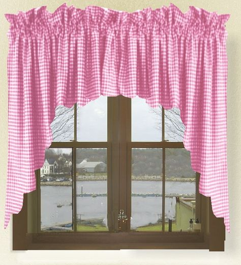 Fuchsia Hot Pink Gingham Check Scalloped Window Swag Valance In Check Scalloped Swag Sets (View 20 of 30)