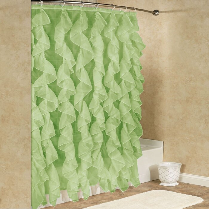 Fuhrman Chic Sheer Voile Vertical Waterfall Ruffled Single Hooks Shower Curtain Within Maize Vertical Ruffled Waterfall Valance And Curtain Tiers (View 7 of 30)
