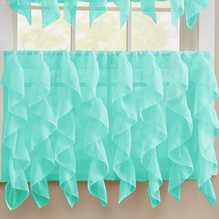 Fulgham Chic Sheer Voile Vertical Cafe Curtain Within Maize Vertical Ruffled Waterfall Valance And Curtain Tiers (View 17 of 30)