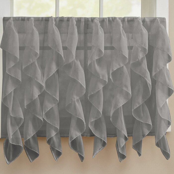 Fulgham Chic Sheer Voile Vertical Cafe Curtain Within Maize Vertical Ruffled Waterfall Valance And Curtain Tiers (View 15 of 30)