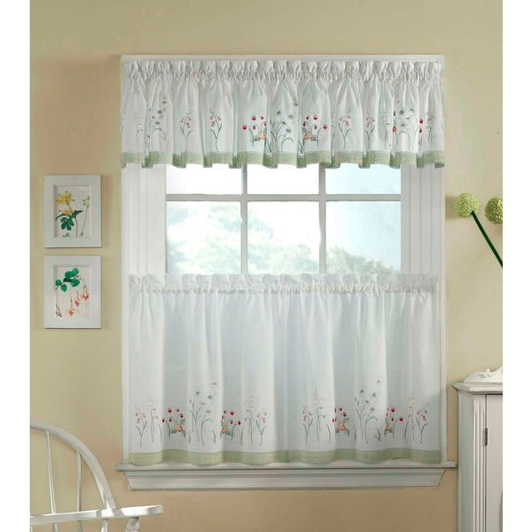 Garden Flowers 3 Piece Curtain Tier And Valance Set In Spring Daisy Tiered Curtain 3 Piece Sets (View 14 of 30)