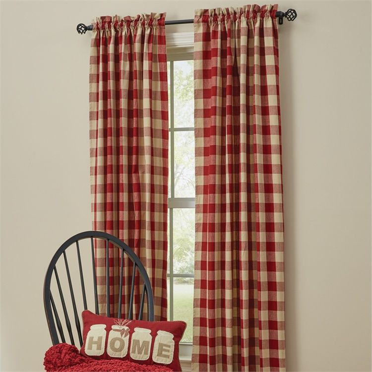 Garnet Red Wicklow Lined Window Curtain Panels 72 X 84 Pertaining To Red Primitive Kitchen Curtains (View 10 of 30)