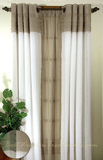 Geneva Sheer Colorblock Curtains In Linen/ivory Throughout Ivory Micro Striped Semi Sheer Window Curtain Pieces (#13 of 50)