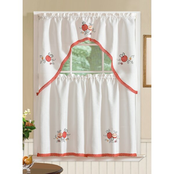 Gerberoy Apple Kitchen Curtain Throughout Delicious Apples Kitchen Curtain Tier And Valance Sets (View 25 of 30)