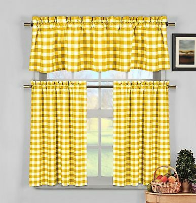 Geri Tailored Valance And 2 Sets Of Tiers Buttercup Yellow With Bermuda Ruffle Kitchen Curtain Tier Sets (View 20 of 50)
