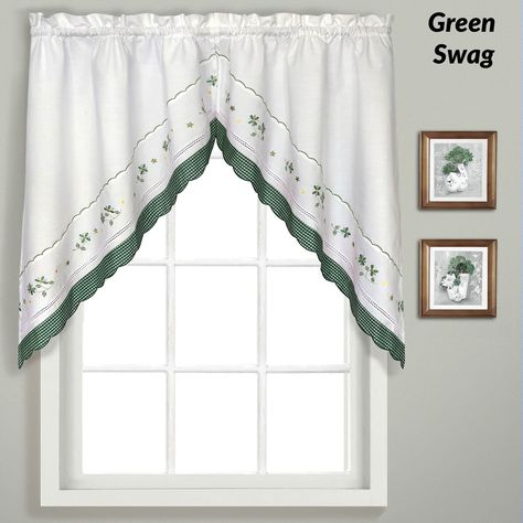 Gingham Embroidered Kitchen Tiers, Valance, And Swags | Products Within Abby Embroidered 5 Piece Curtain Tier And Swag Sets (View 14 of 30)