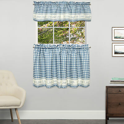 Gingham Stitch Live Laugh Love Kitchen Curtain Tier Pair Or Inside Live, Love, Laugh Window Curtain Tier Pair And Valance Sets (View 25 of 50)