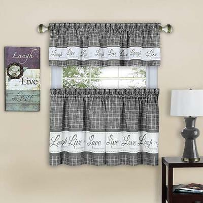 Gingham Stitch Live Laugh Love Kitchen Curtain Tier Pair Or With Light Filtering Kitchen Tiers (View 43 of 50)