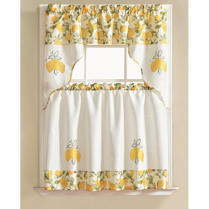 Gironde Lemon 3 Piece Kitchen Curtain Set Regarding Spring Daisy Tiered Curtain 3 Piece Sets (View 15 of 30)