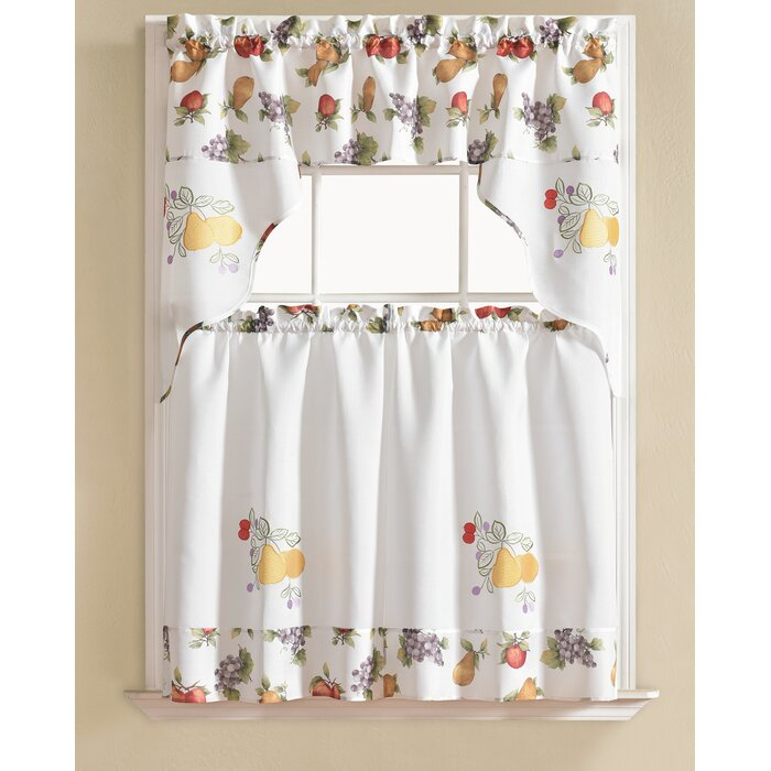 Gironde Pear 3 Piece Kitchen Curtain Set In Scroll Leaf 3 Piece Curtain Tier And Valance Sets (View 28 of 50)