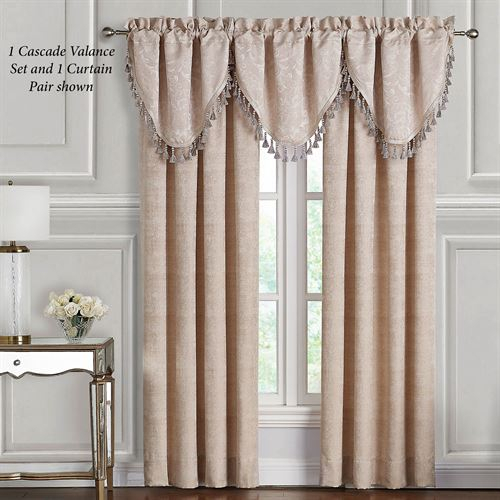 Gisella Acanthus Leaf Window Treatmentwaterford Linens Within Scroll Leaf 3 Piece Curtain Tier And Valance Sets (View 30 of 50)