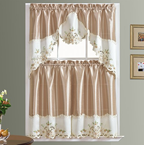 Gohd Arch Floral Kitchen Curtain Set/swag Valance & Tier Set (View 32 of 50)