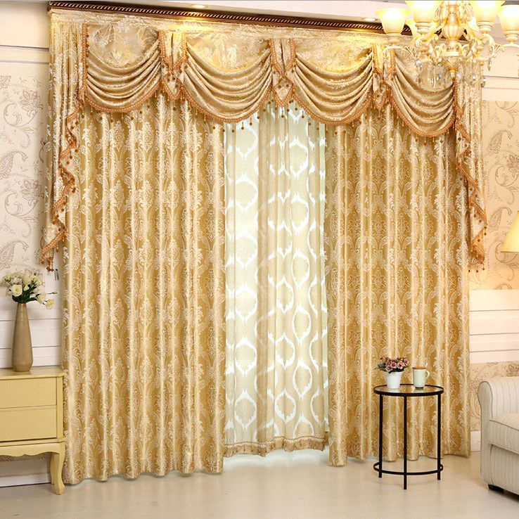 Gold Floral Jacquard Polyester Luxury Damask Curtains For Within Luxury Light Filtering Straight Curtain Valances (View 12 of 47)