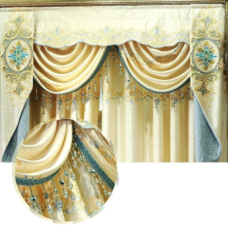 Gold Valance Curtains – Stiker For Floral Embroidered Faux Silk Kitchen Tiers (View 33 of 50)