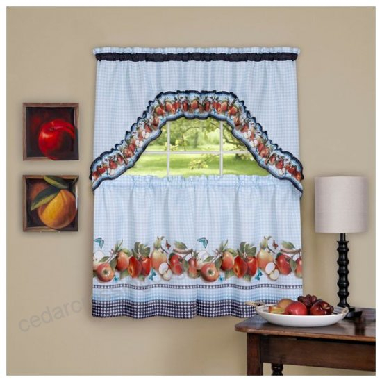 Golden Delicious, Printed Tier And Swag Window Curtain Set Throughout Delicious Apples Kitchen Curtain Tier And Valance Sets (View 7 of 30)