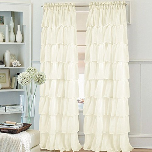Golden Linens Crushed Voile Sheer Shabby Chic Gypsy Ruffle With Chic Sheer Voile Vertical Ruffled Window Curtain Tiers (View 19 of 50)