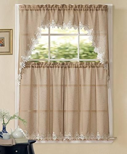 Goodgram Orchard Luxurious Matte Sheer Macrame Kitchen With Multicolored Printed Curtain Tier And Swag Sets (View 12 of 30)