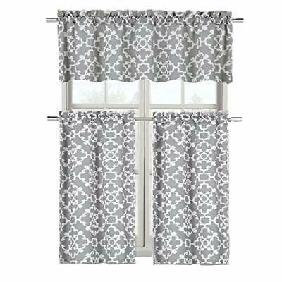 Goodgram Ultra Luxurious Grey Shabby 3 Piece Kitchen Curtain Tier & Valance  Set | Ebay In Cotton Blend Grey Kitchen Curtain Tiers (View 17 of 47)