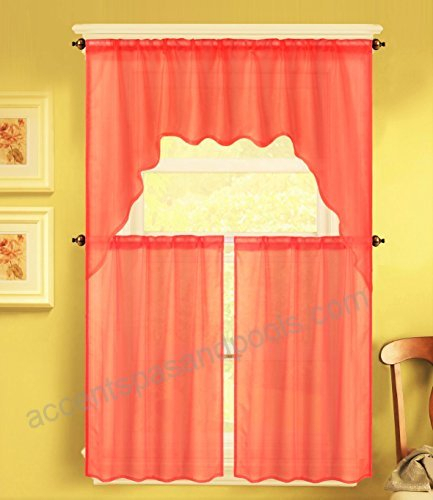 Gorgeoushomelinen (K66) 3 Piece Voile Rod Pocket Window In Solid Microfiber 3 Piece Kitchen Curtain Valance And Tiers Sets (#23 of 50)