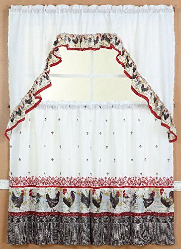 Gorgeoushomelinendifferent Cottage Designs 3 Piece Kitchen Within Barnyard Window Curtain Tier Pair And Valance Sets (View 34 of 50)