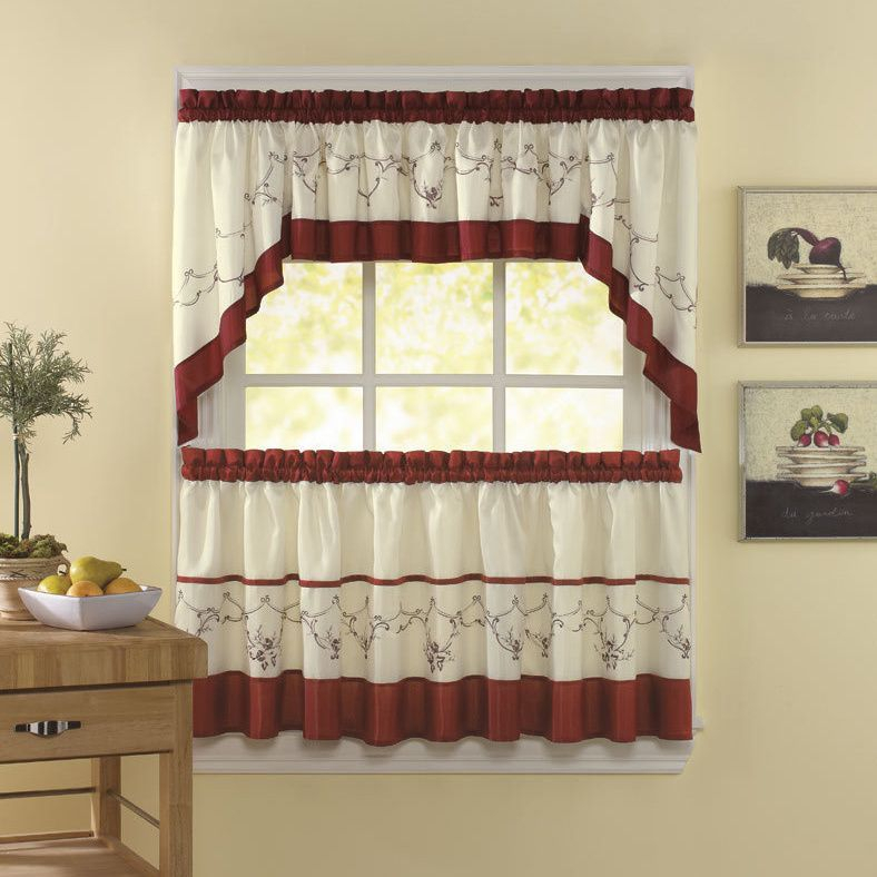 Grace Cinnabar 5 Piece Curtain Tier And Swag Set | Products With 5 Piece Burgundy Embroidered Cabernet Kitchen Curtain Sets (#32 of 50)