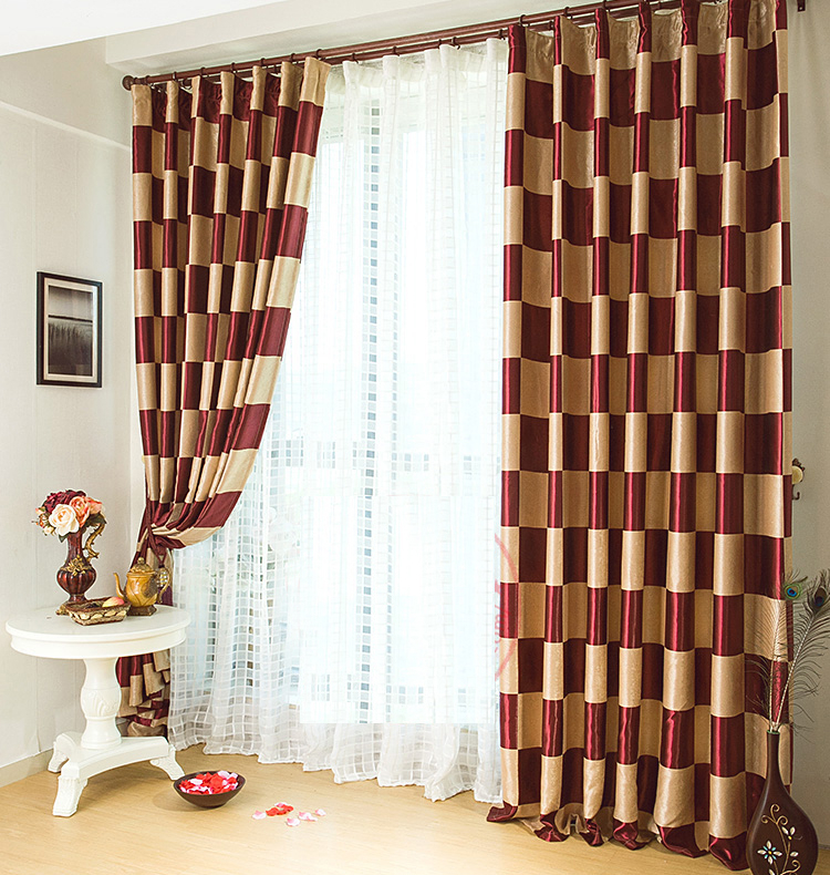 Graceful Burgundy Plaid Polyester Good Quality Curtains Within Burgundy Cotton Blend Classic Checkered Decorative Window Curtains (View 20 of 30)
