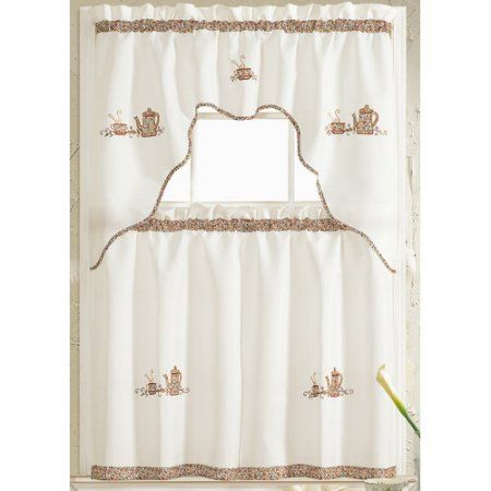 Grand Coffee Embroidered Kitchen Curtain, Brown   Products In Coffee Embroidered Kitchen Curtain Tier Sets (View 16 of 30)