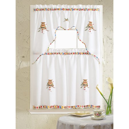 Grand Owl Embroidered Tier And Swag Kitchen Curtain Set In With Coffee Drinks Embroidered Window Valances And Tiers (View 22 of 45)