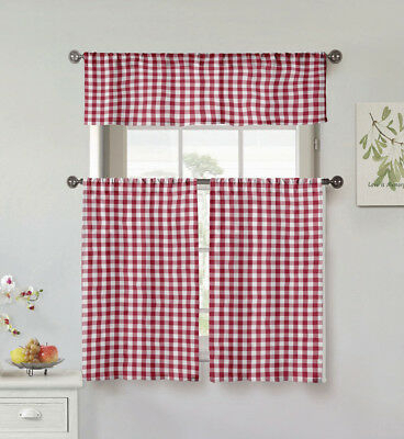 Gray 3 Pc Plaid Kitchen Curtain Set: 35% Cotton\1 Valance\2 In Classic Navy Cotton Blend Buffalo Check Kitchen Curtain Sets (View 14 of 30)
