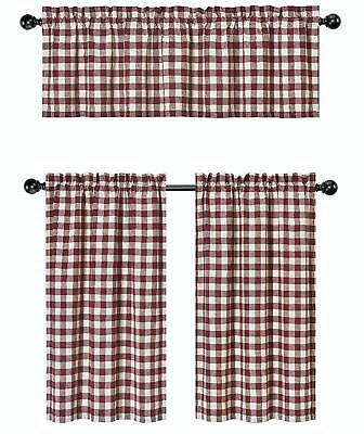 Gray 3 Pc Plaid Kitchen Curtain Set: 35% Cotton\1 Valance\2 Inside Burgundy Cotton Blend Classic Checkered Decorative Window Curtains (View 22 of 30)