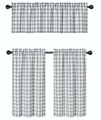 Gray 3 Pc Plaid Kitchen Curtain Set: 35% Cotton\1 Valance\2 With Classic Navy Cotton Blend Buffalo Check Kitchen Curtain Sets (View 15 of 30)