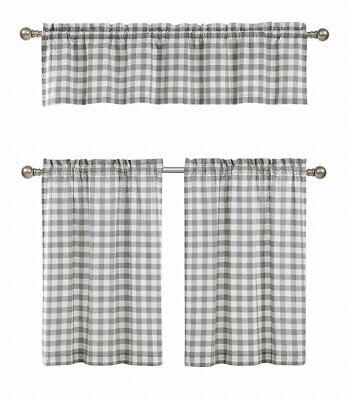 Gray 3 Pc Plaid Kitchen Curtain Set: 35% Cotton\1 Valance\2 With Cotton Blend Grey Kitchen Curtain Tiers (View 18 of 47)