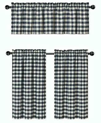Gray 3 Pc Plaid Kitchen Curtain Set: 35% Cotton\1 Valance\2 With Regard To Cotton Blend Grey Kitchen Curtain Tiers (View 19 of 47)