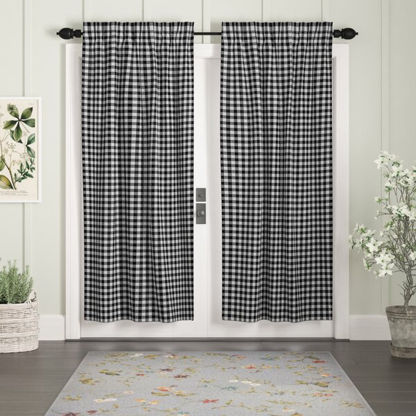 Gray Buffalo Check Curtains | Wayfair Regarding Classic Navy Cotton Blend Buffalo Check Kitchen Curtain Sets (View 16 of 30)